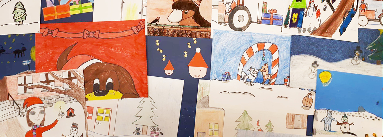 Christmas cards with drawings from pupils studying art as an optional subject
